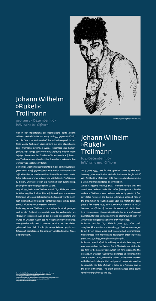 "Die Gedenkstele ""Johann Wilhelm Rukeli Trollmann"" in der Fidicinstrasse in Kreuzberg"