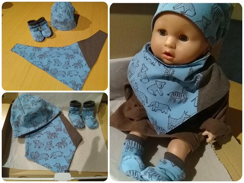 Baby-Set aus Bio-Jersey: Mütze, Halstuch, Schühchen (29 €)