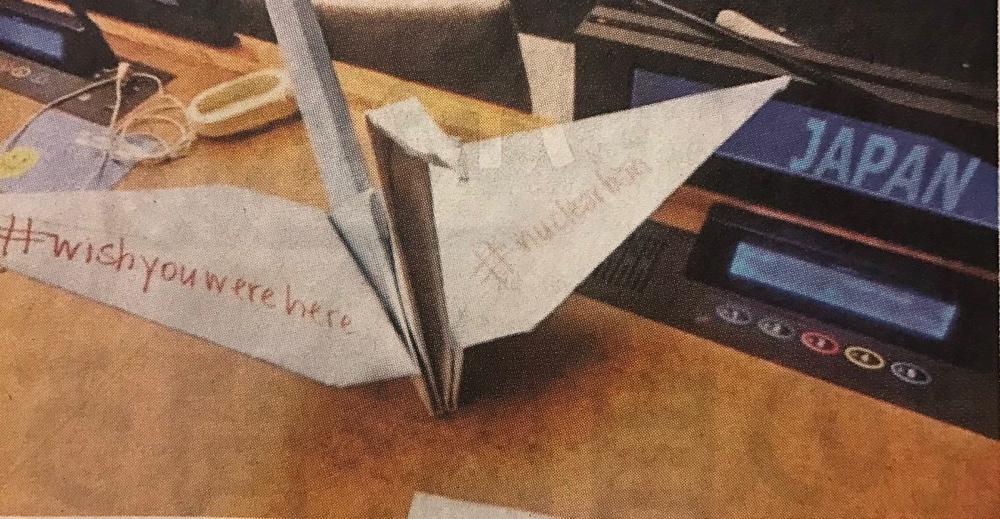 国連会議の日本代表の机の上に置かれた折鶴。#wishyouwerehere (あなたにここにいて欲しい)  #nuclearban