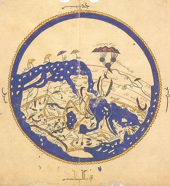 Le monde d'Al-Idrissi orienté au Nord