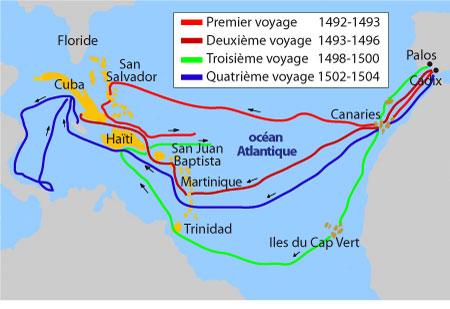 Les voyages de Christophe Colomb dans le Nouveau monde