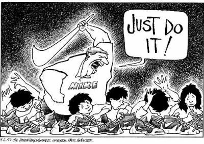 Nike et le travail des enfants, caricature