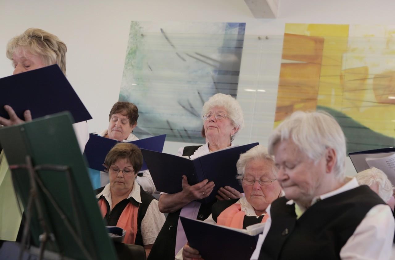 Singegruppe Harmonie singt beim Gemeindefest. Foto: Nina Strugalla