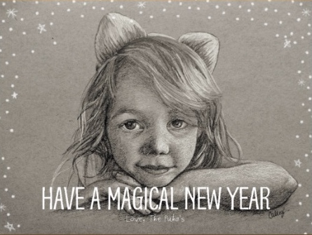 childrens portraiture in pencil being used for personalized holiday cards