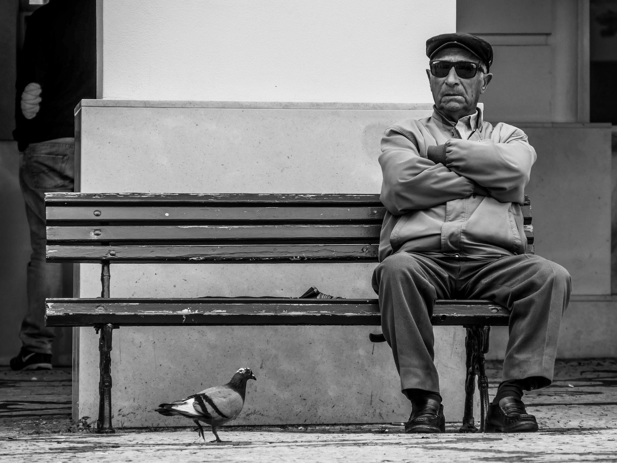 Man on the bench   Aveiro Portugal
