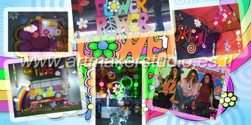 FIESTA FLOWER POWER escenografía y elementos de decoración