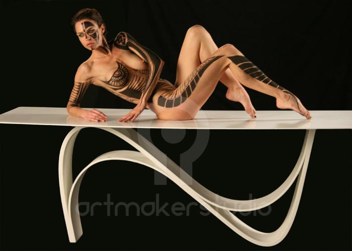 "Tattoo maorí B&W. Body Painting realizado para ""Fanstudio"". Madrid"