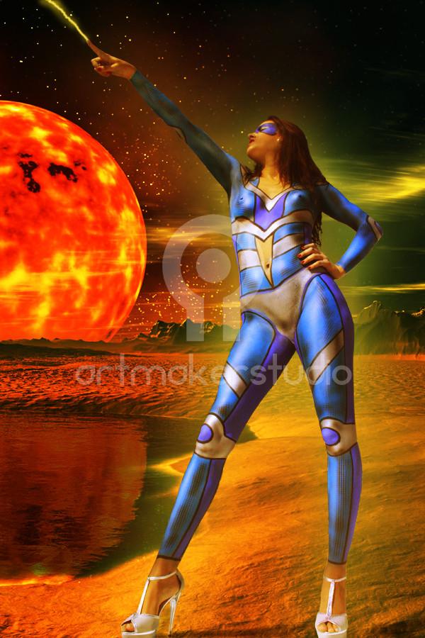 Space Girl Body Paint by Artmakerstudio