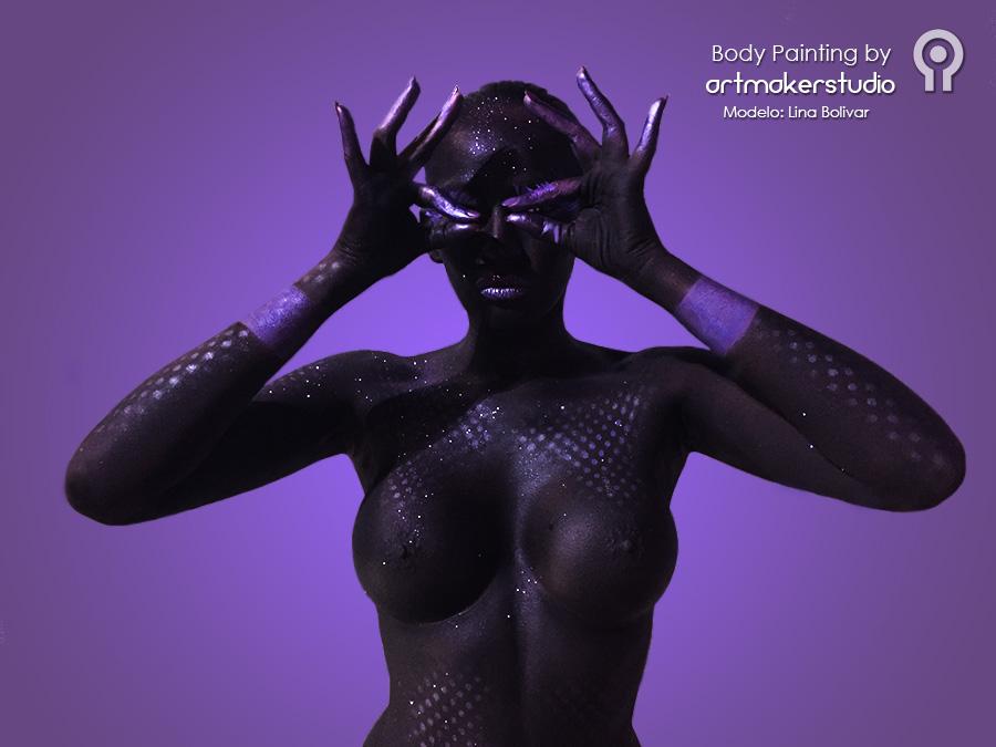 Body Painting para presentación perfumes Syrma Cosmetics. Lyra