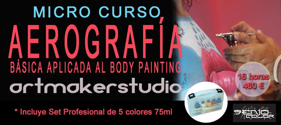 Micro Curso de Aerografía Básica aplicada al Body Paint, maquillaje profesional para aerógrafo