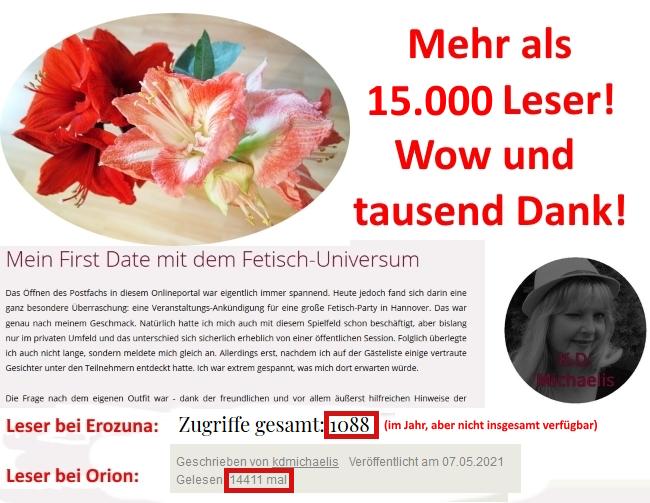 10.017 Leser für die sexy Online-Geschichte: Mein First Date mit dem Fetisch-Universum von K.D. Michaelis