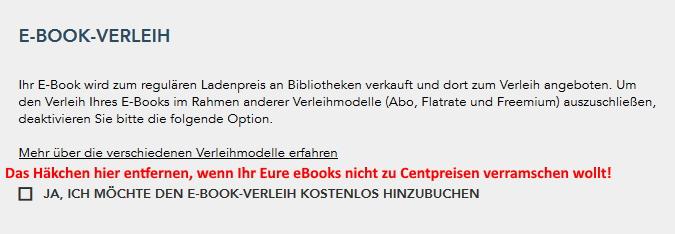 eBook-Verleih im Buchvertrag mit BoD - Books on Demand ausschließen