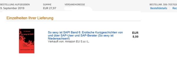 Kaufnachweis So sexy ist SAP! Band 6 vom 09.09.2019
