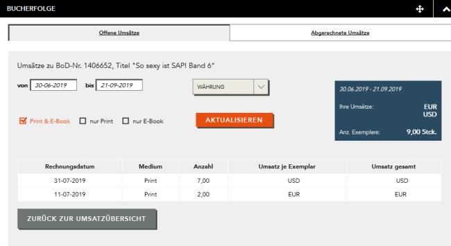 Screenshot der online gemeldeten Buchverkäufe Band 6 vom 21.09.2019