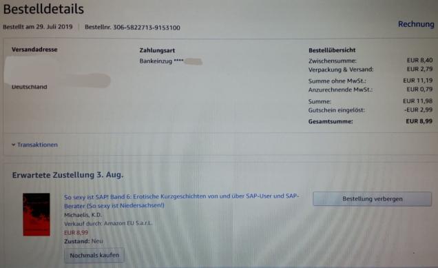 Kaufnachweis So sexy ist SAP! Band 6 vom 29.07.2019