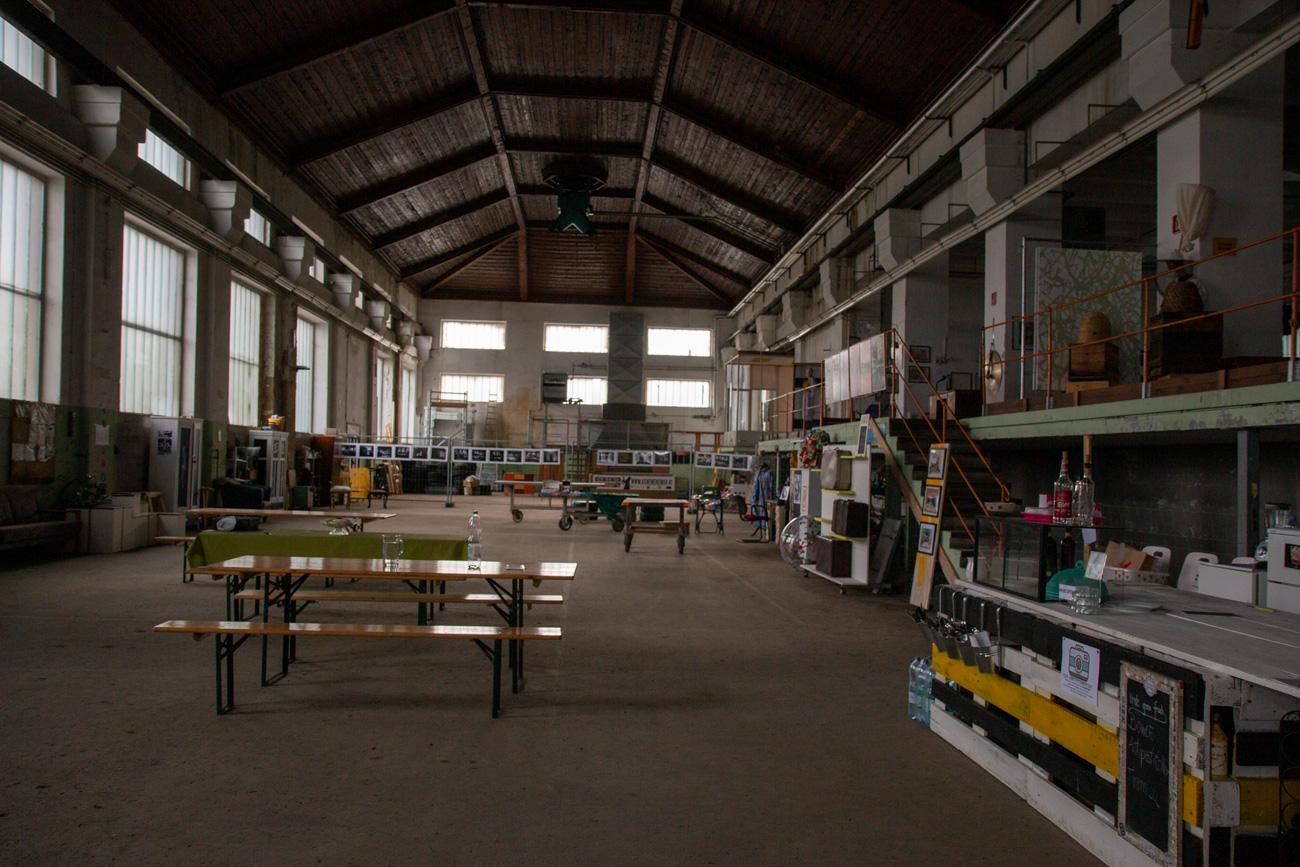 Werkhalle beim Viertelfestivalsprojekt Kene Mene Muh