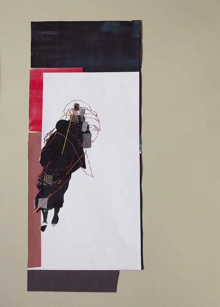 """aus der Serie """"auf der Flucht"""", Entstehungsjahr: 2016, Technik: Papierarbeit, Collage, bestickt, Größe: 58 cm x 24 cm ohne Rahmen, 70 cm x 50 cm incl. Rahmen, in Privatbesitz"""