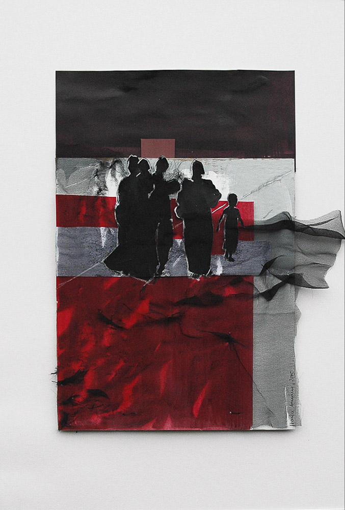 """aus der Serie """"auf der Flucht"""", Entstehungsjahr: 2015, Technik: Papierarbeit, Collage, Größe: 28 cm x 23 cm ohne Rahmen, 43 cm x 30 cm incl. Rahmen"""