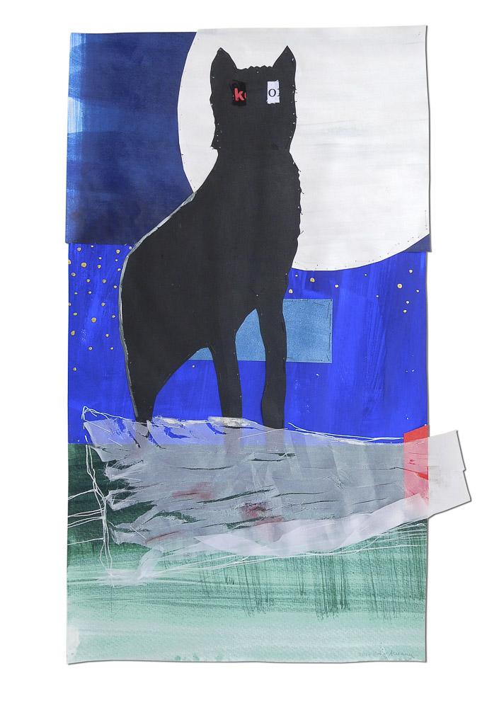 """aus der Serie """"Märchen"""", Rotkäppchen, Entstehungsjahr: 2017, Technik: Papierarbeit, Collage, bestickt, Größe: 47 cm x 27 cm, ohne Rahmen, 72 cm x 52 cm x 4cm incl. Rahmen"""