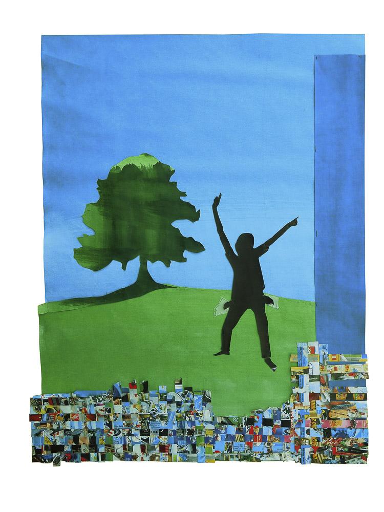 """aus der Serie """"Märchen"""", Hans im Glück, Entstehungsjahr: 2017, Technik: Papierarbeit, Collage, bestickt, Größe: 82 cm x 62 cm x 4 cm"""