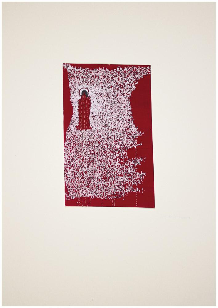 """aus der Serie """"die weinende Mutter"""", 2015, Technik: Papierarbeit, Collage, Stickerei, Größe: 19 cm x 14 cm, 40 cm x 30 cm incl. Rahmen"""
