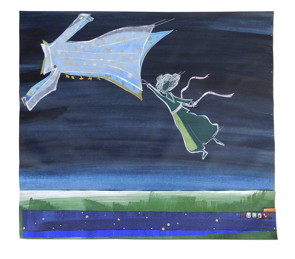 """aus der Serie """"Märchen"""", Mantel, Entstehungsjahr: 2017, Technik: Papierarbeit, Collage, bestickt, Größe: 42 cm x 47 cm, ohne Rahmen, 52 cm x 72 cm x 4 cm incl. Rahmen"""