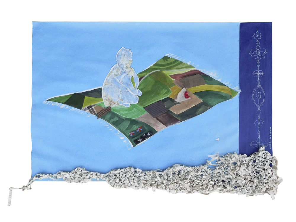 """aus der Serie """"Märchen"""", Fliegen, Entstehungsjahr: 2017, Technik: Papierarbeit, Collage, bestickt, Größe: 46 cm x 65 cm, ohne Rahmen, 62 cm x 82 cm x 4 cm incl. Rahmen"""