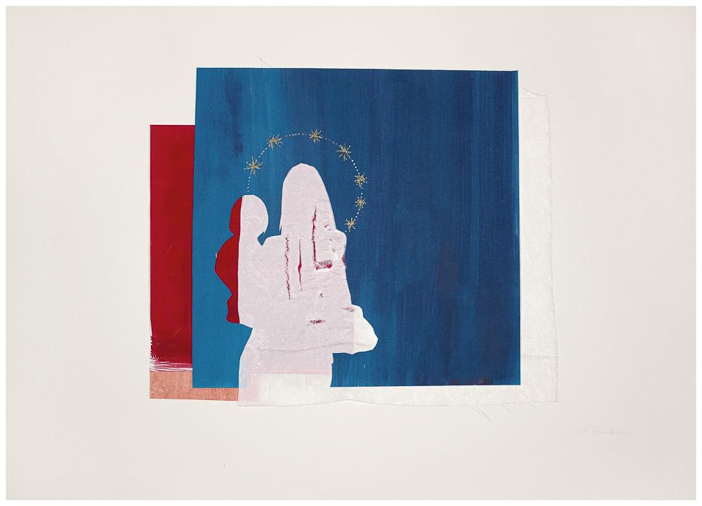 """aus der Serie """"die weinende Mutter"""", 2015, Technik: Papierarbeit, Collage, Stickerei Größe: 40 x 60 cm, in Privatbesitz"""