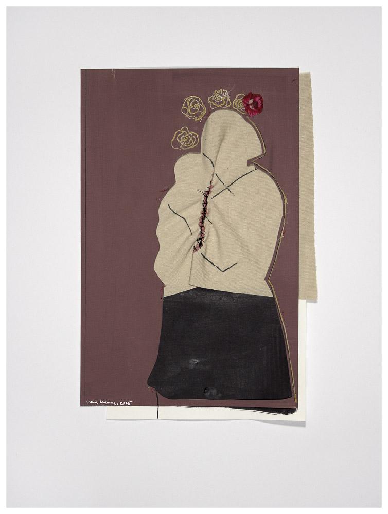 """aus der Serie """"die weinende Mutter"""", 2015, Technik: Papierarbeit, Collage, Stickerei, Größe: 27 cm x 18 cm, 42 cm x 32 cm x 3,5 cm incl. Rahmen, in Privatbesitz"""