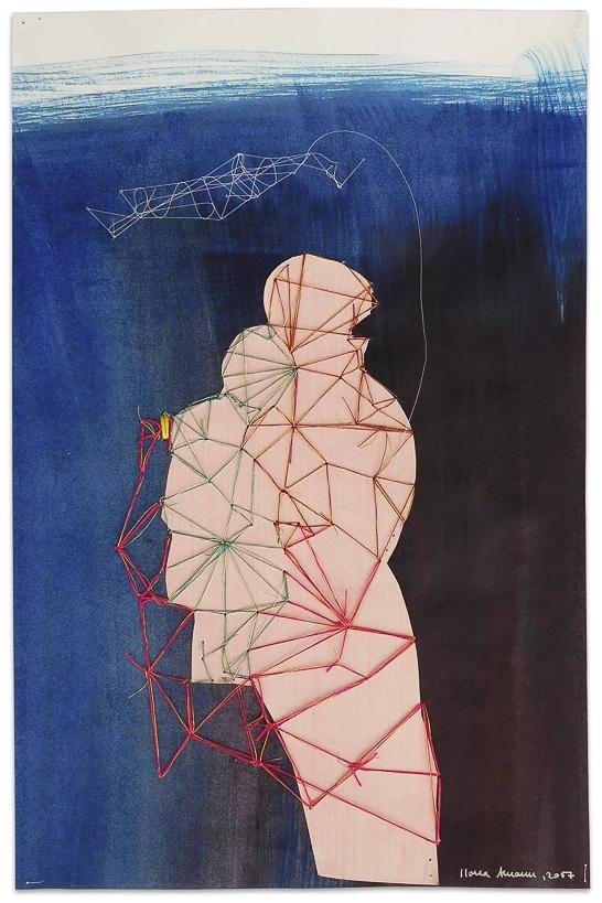 """aus der Serie """"die weinende Mutter"""", 2017, Technik:  Papierarbeit bestickt, Größe: 29 cm x 19 cm, 42 cm x 32 cm x 3,5 cm incl. Rahmen"""