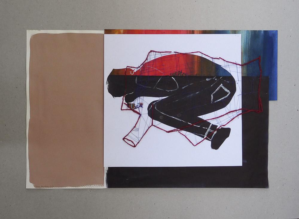 """aus der Serie """"auf der Flucht"""", Entstehungsjahr: 2017, Technik: Papierarbeit, Collage, Größe: 35 cm x 57 cm ohne Rahmen, 50 cm x 70 cm incl. Rahmen"""
