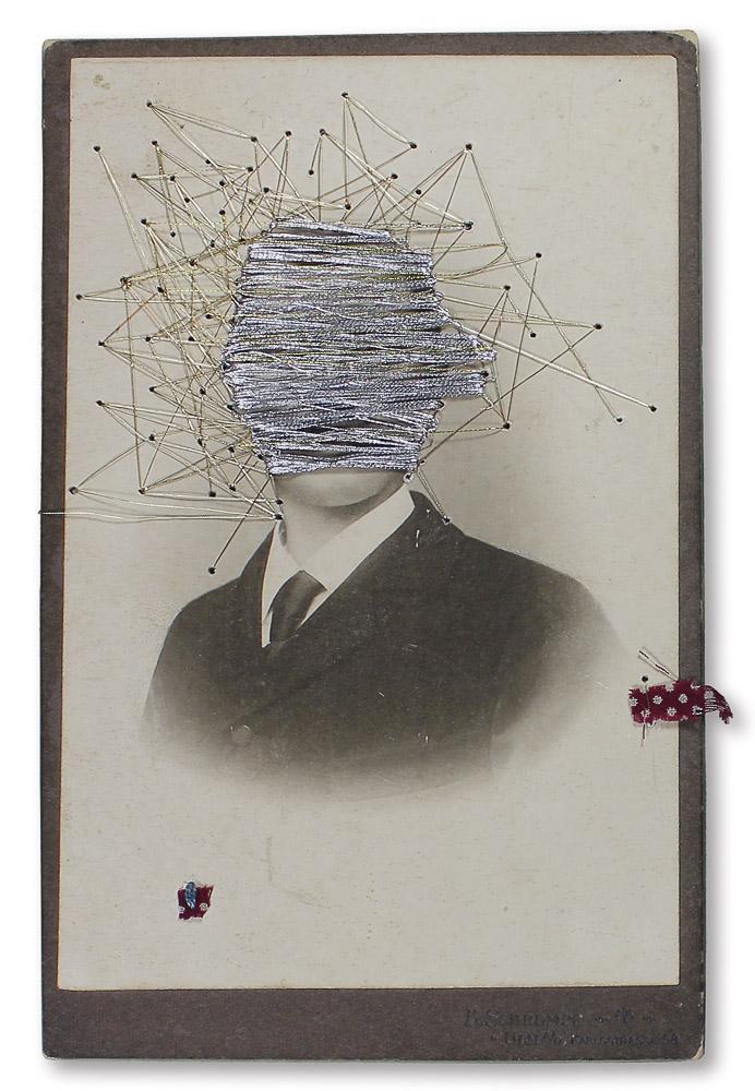 """aus der Serie """"zurück in die Zukunft"""", Entstehungsjahr: 2015, Technik: Foto, Collage, bestickt, Größe: 16,5 cm x 10,5 cm ohne Rahmen, 32 cm x 26 cm x 3,5 cm incl. Rahmen"""