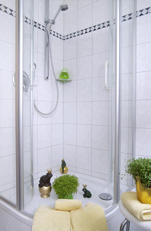 Badezimmer mit Dusche u. WC sowie viel Tageslicht