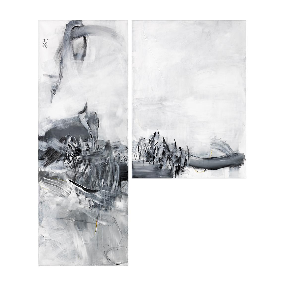 Rush Hour (Dyptichon)_150x125_Acryl, Kohle & Pastell auf Lwd.