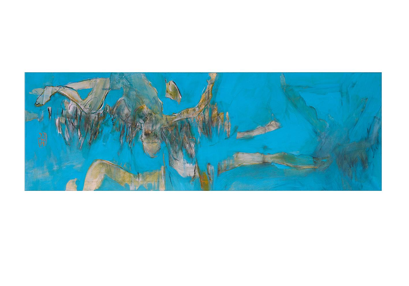 Wekarus_50x150_Acryl, Kohle & Pastell auf Lwd.