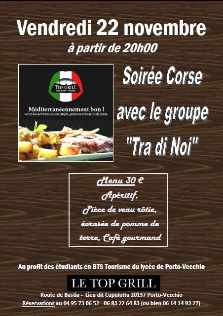 Soirée Corse restaurant Top Grill