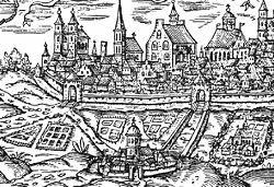 Die erste Kartause(1387) lag einst vor den Toren der Stadt(links im Bild)