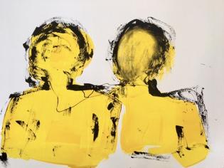 """Béatrice WOLFF, """"Dialogue"""", Encre, aquarelle, 50x65 cm, 2019"""