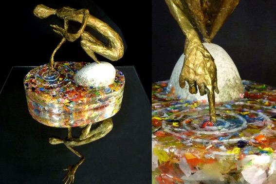 """Laetitia GAVINI, """"Le tourment de Narcisse"""", résine,pierre, matières plastique, 22x24x26 cm, 2019"""