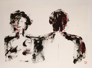 """Béatrice WOLFF, """"Pile ou Face"""", Encre, aquarelle, 50x65 cm, 2018"""