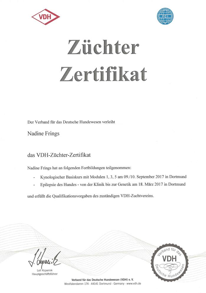 VDH Züchterzertifikat