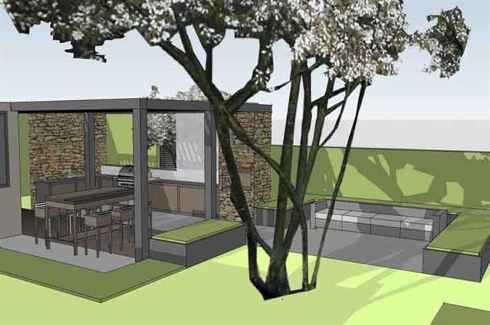 Ein 50er-Jahre-Garten wird zur stylishen Outdoorküche