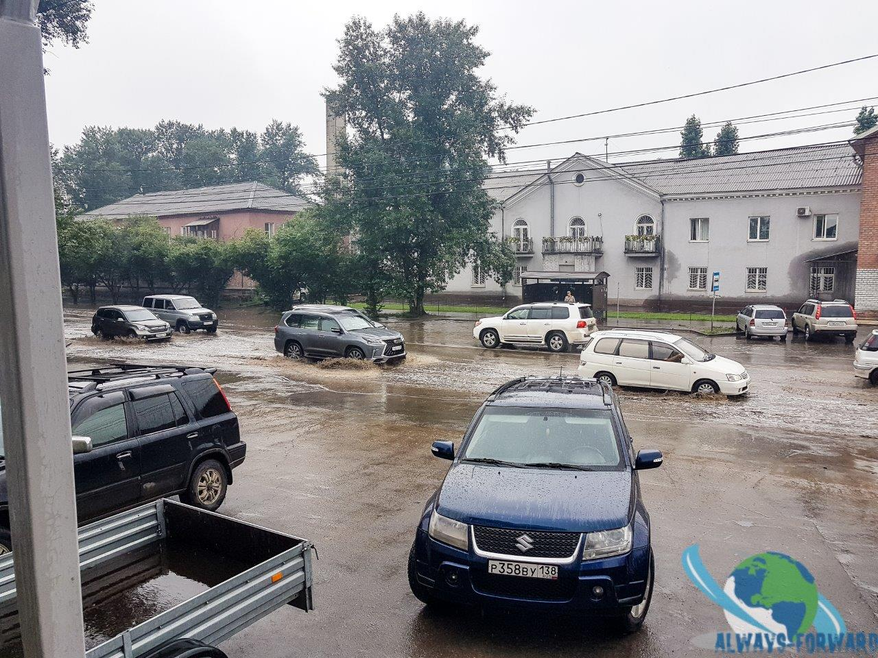das Wasser läuft kaum ab wenn es regnet