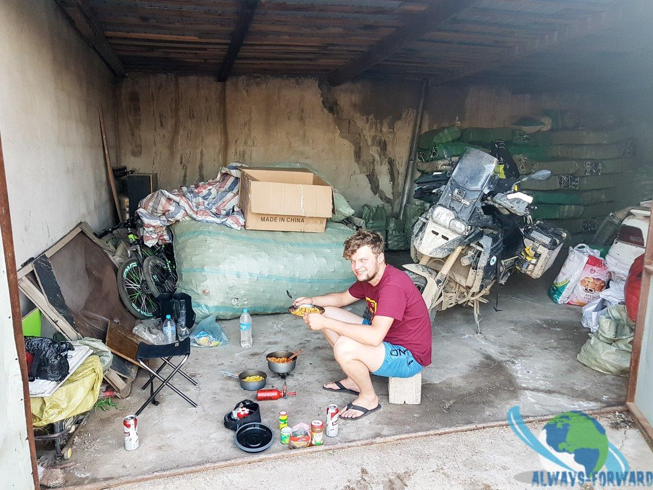 kochen in der Garage
