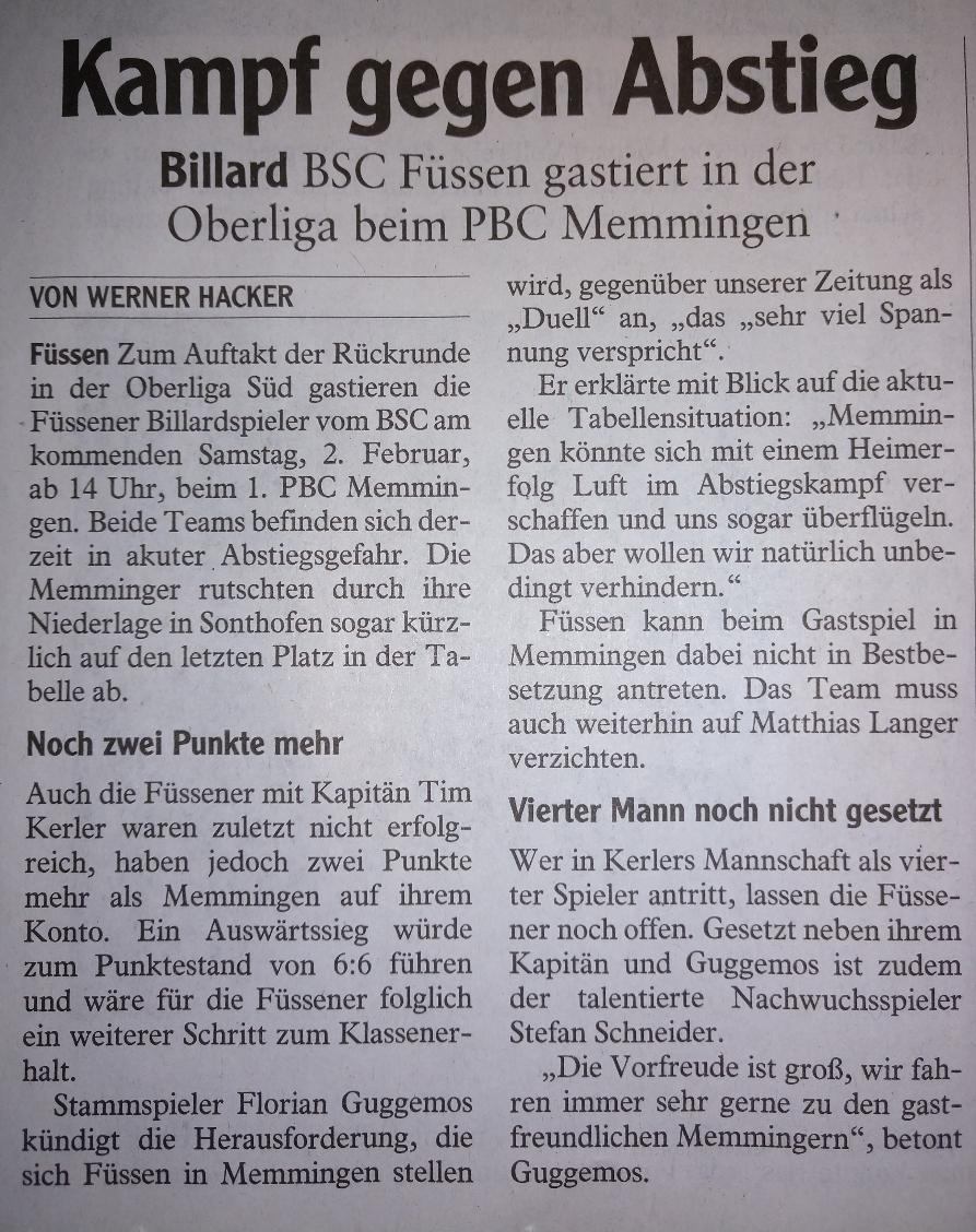 Vorbericht Spieltag | Füssen 1