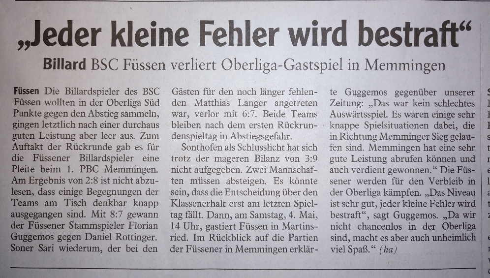 Spieltagsbericht | Füssen 1