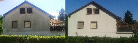 Links vor der Fassadenreinigung - rechts nachher