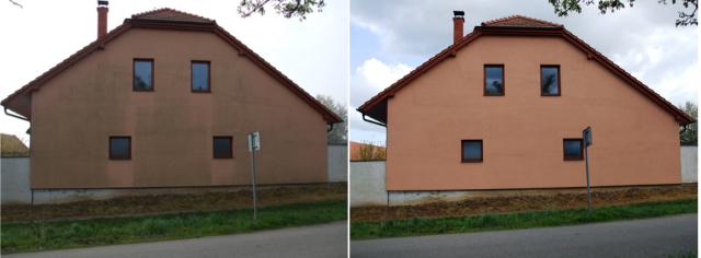 Typisches Vorher-Nachher Bild einer Fassadenreinigung bzw. fachgerechten Algenentfernung