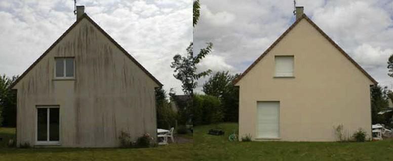 Links vor der Fassadenreinigung - Rechts dannach
