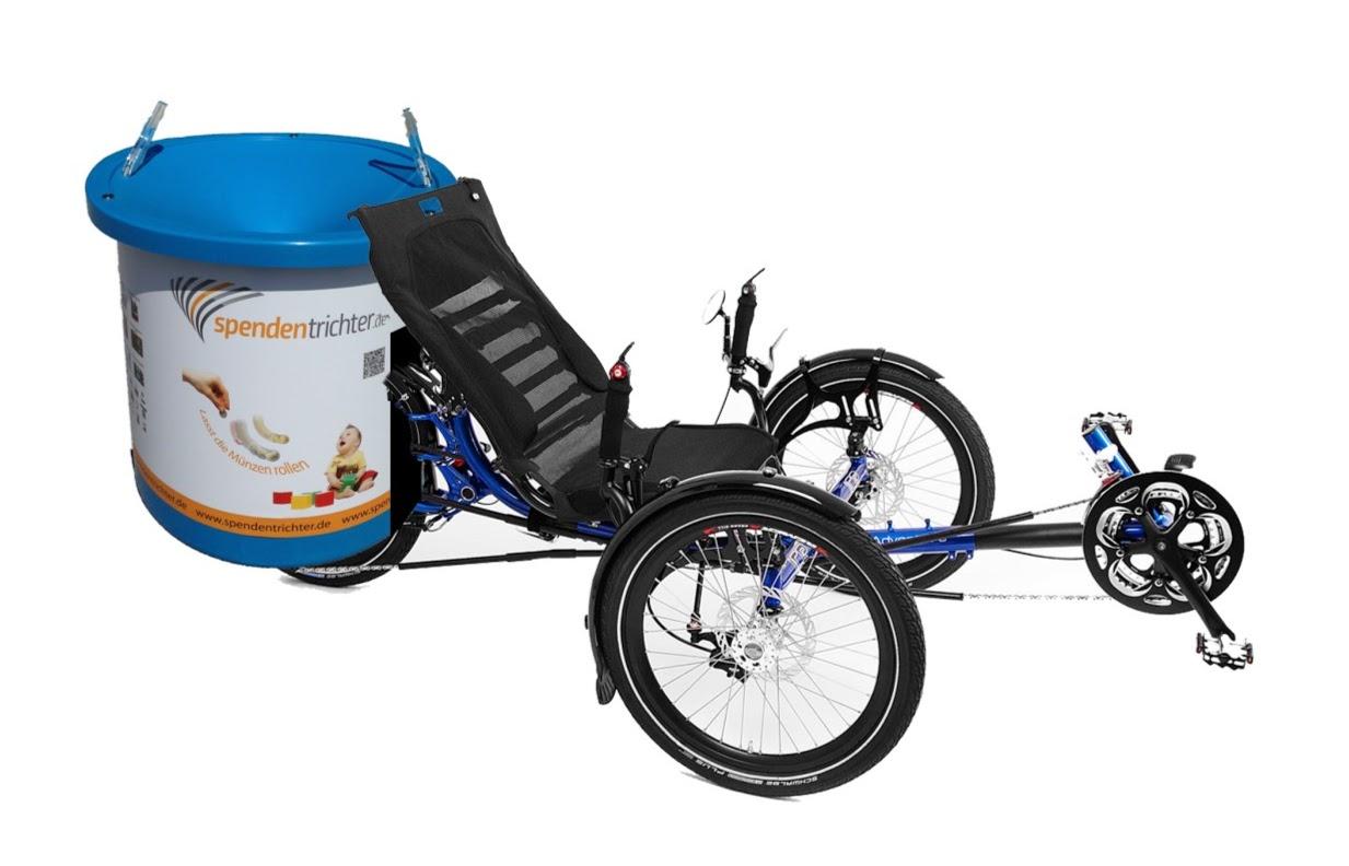Liege-Trike von der Firma ICE.  ICE Adventure HD mit Sonderumbau Spendentrichter K88 Spezial